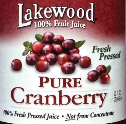 pure organic juice from cranberries